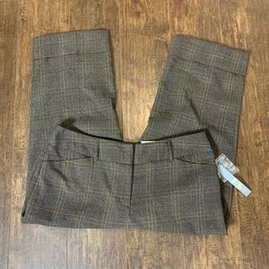 Cropped wide leg slacks size 12 plaid